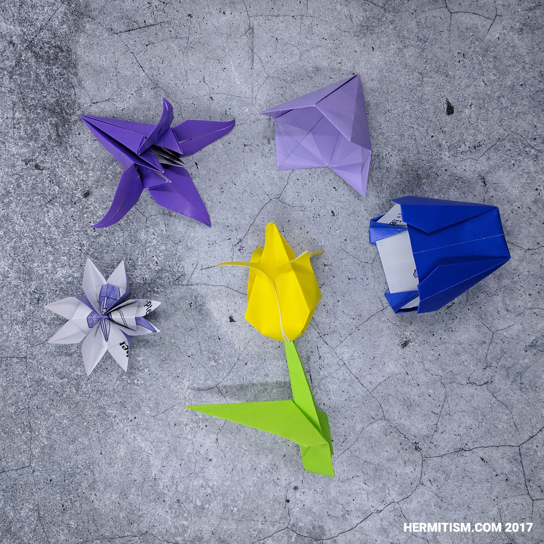 Origami from April - Hermit Werds - Catamaran Flower, Iris, Bell Flower, Vase, Tulip