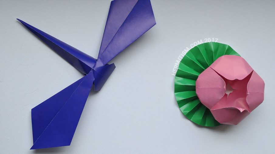Origami from May - Hermit Werds - Dragonfly and Lily