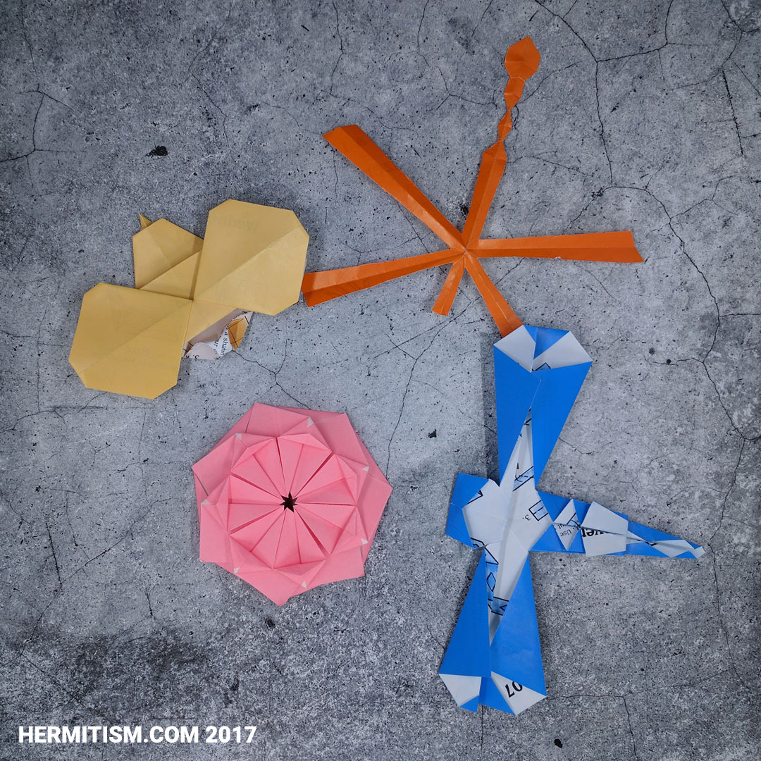 Origami from May - Hermit Werds - Bug-eyed Bee, Dragonflies, Modular Flower