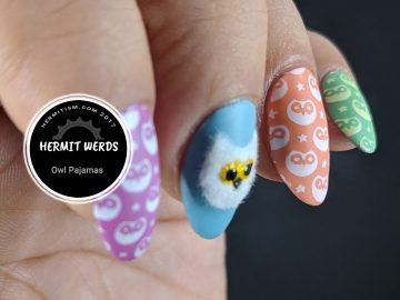 Owl Pajamas - Hermit Werds - cute owl print on colorful nails with one larger flocked owl