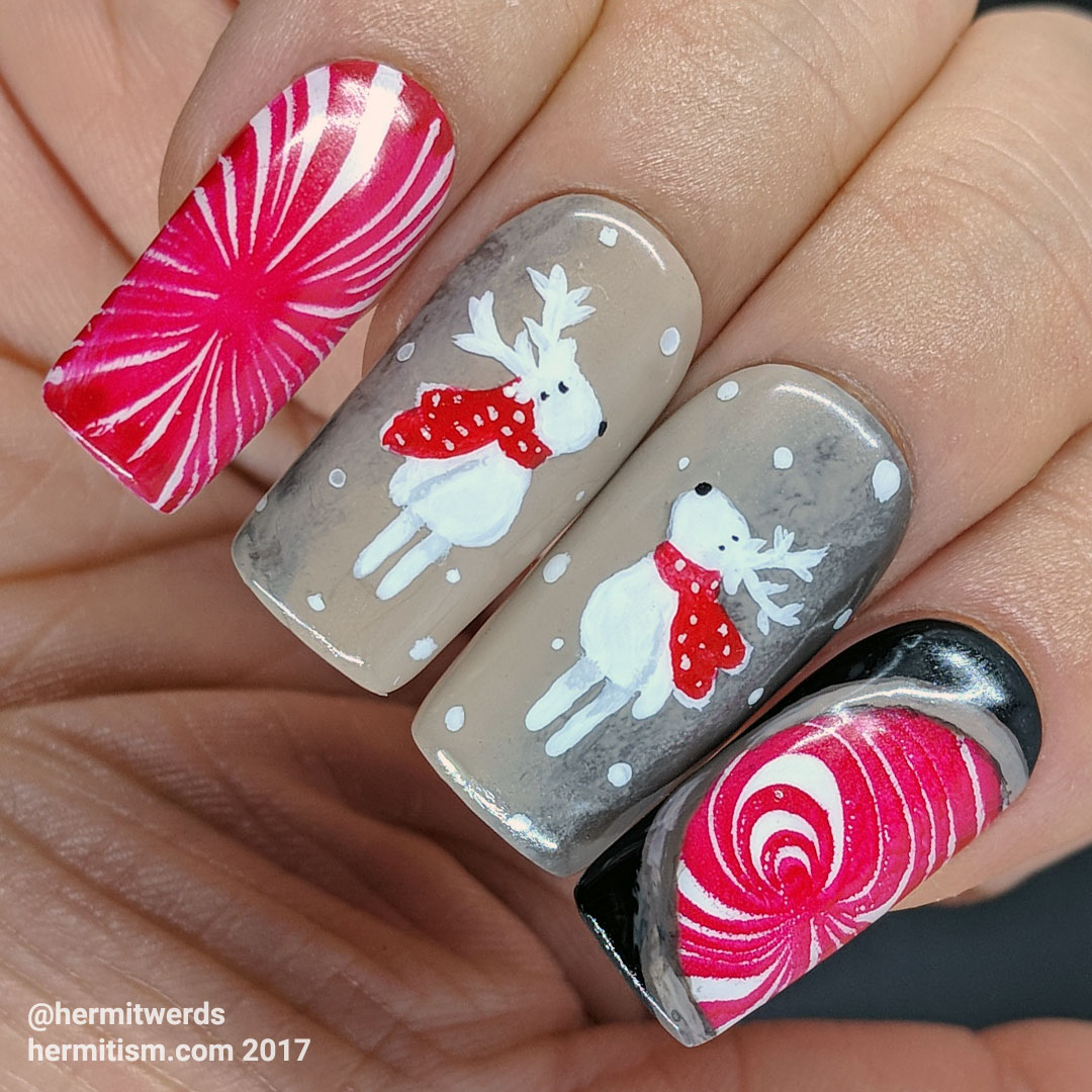 Peppermint Coffees - Hermit Werds - peppermint coffee theme with two freehand painted white reindeer wearing red scarves