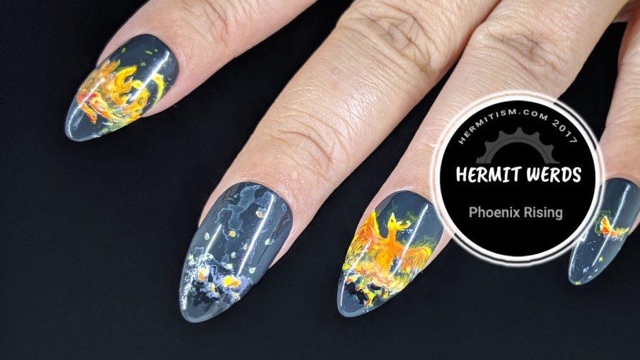 Phoenix Rising - Hermit Werds - false nails depicting the death and rebirth cycle of a phoenix