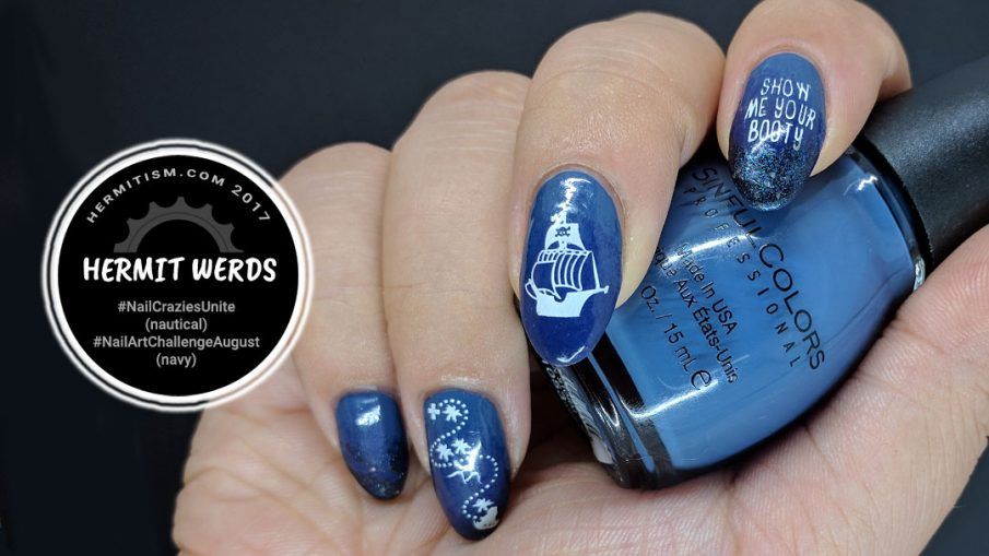Pirate Booty - Hermit Werds - navy pirate-themed nails with treasure