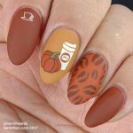Pumpkin Spice Latte - Hermit Werds - rich orange-y colors stamped with coffee images and a pumpkin