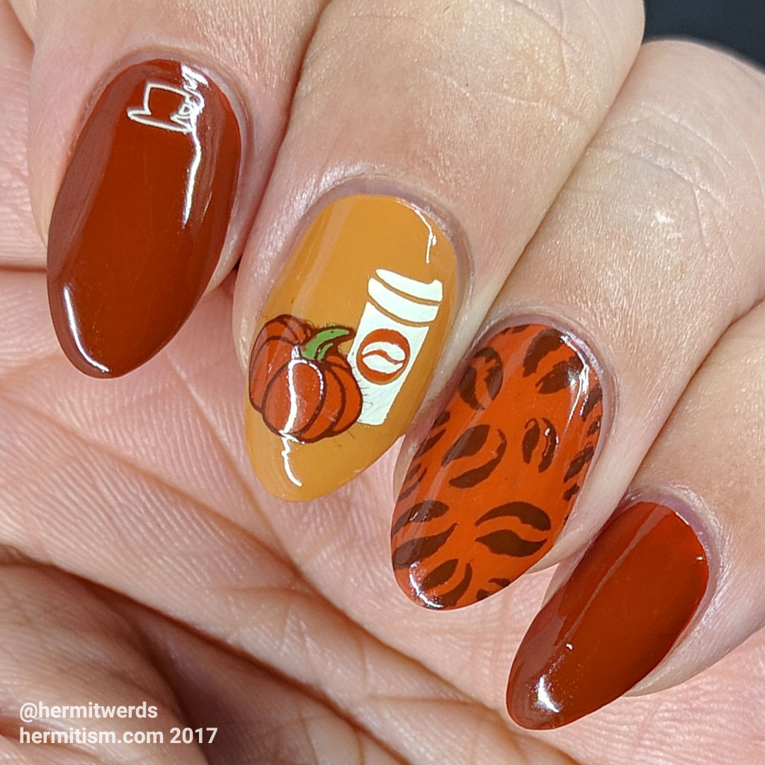 Pumpkin Spice Latte (glossy) - Hermit Werds - rich orange-y colors stamped with coffee images and a pumpkin
