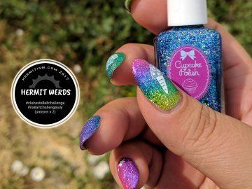 Rainbow Holo Glitter Unicorn - Hermit Werds - rainbow glitter nail art featuring a starry unicorn and unicorn food