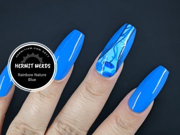 Rainbow Nature - Blue - Hermit Werds - blue nail art of a lily pond from below with fishes!