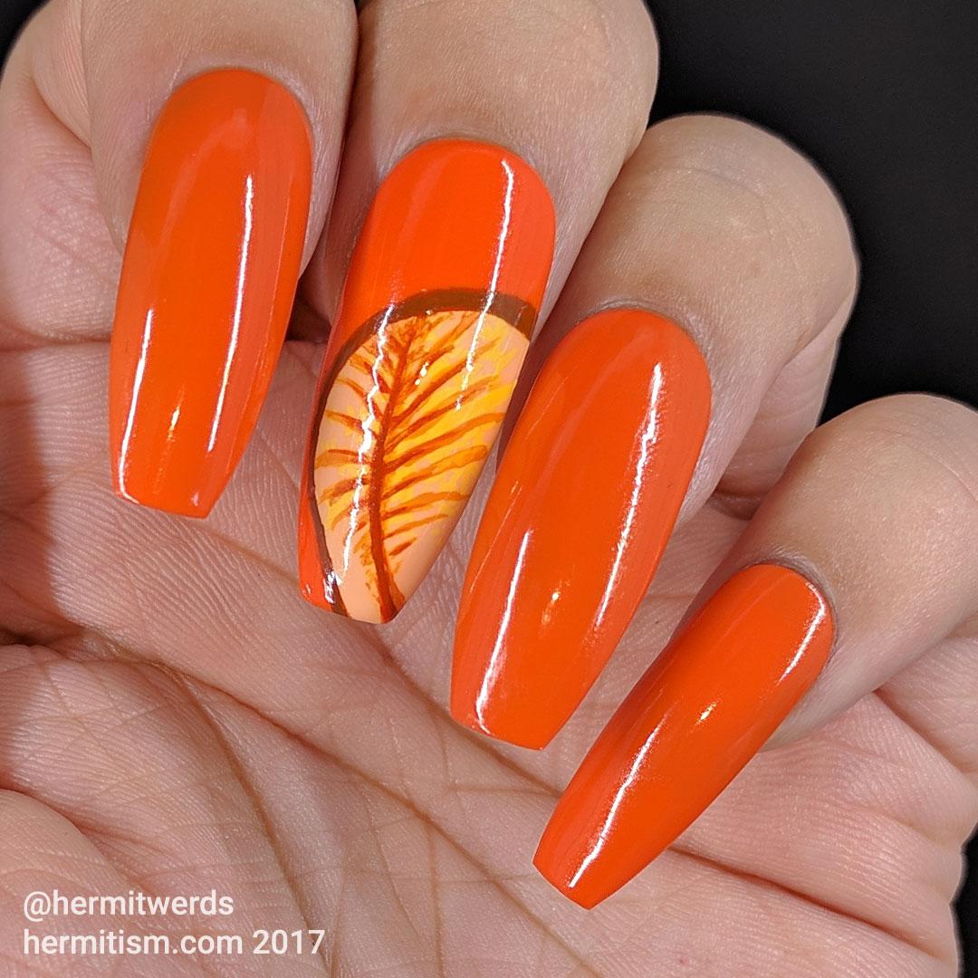 Rainbow Nature - Orange - Hermitwerds - orange monochrome nails with leaves