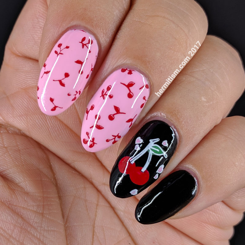 Retro Cherry - Hermit Werds - cherry patterned nails in retro style
