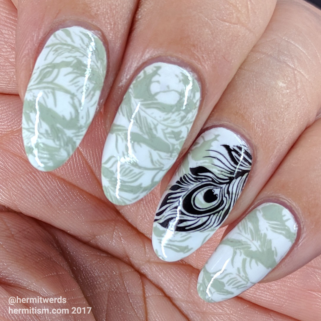 Sharon's Feathers - Hermit Werds - greyscale feather stamping, design by @sharnailstar