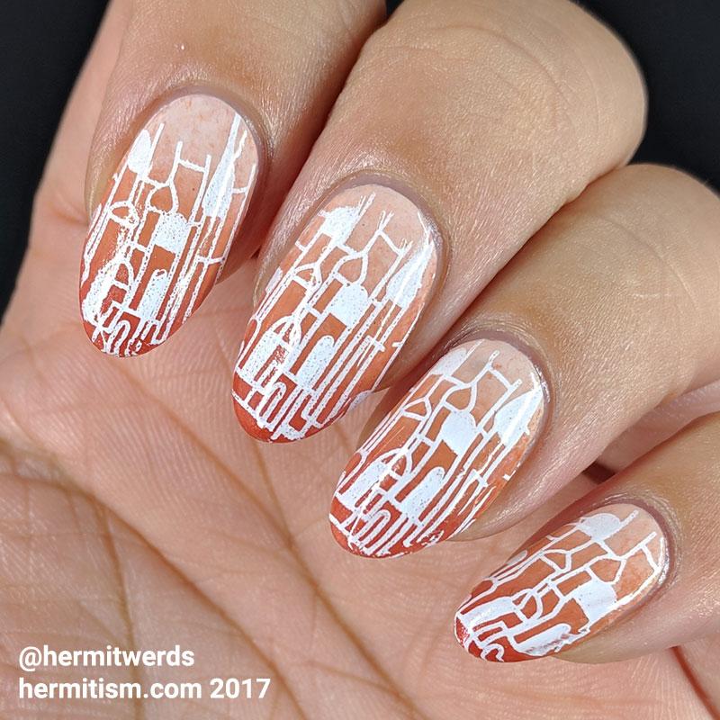 Sunset City - Hermit Werds - a city stamping over a red-orange to warm e a city stamping over a red-orange to warm beige gradient