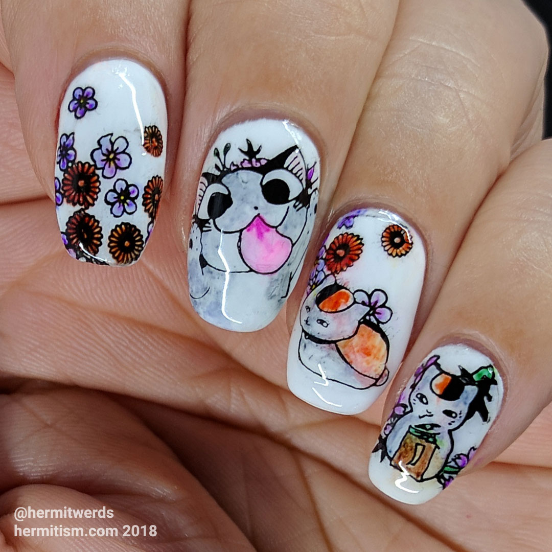 Sushi Cats - Hermit Werds - cute nail art of sushi cats colored in watercolor style