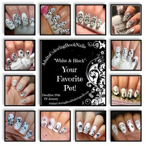 #AdultsColoringBookNails - Black & White collage
