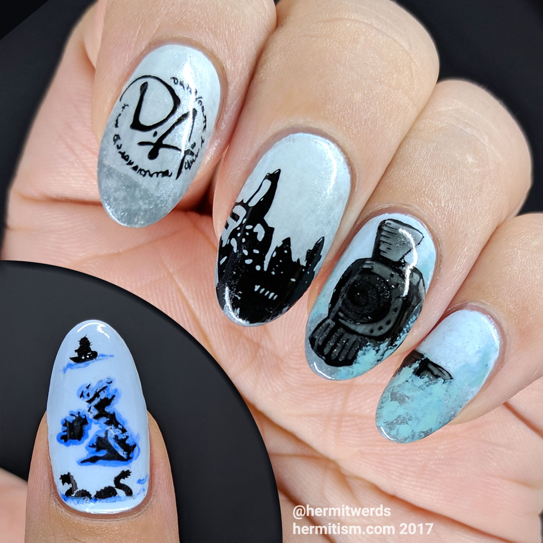 Take Me to Harry Potter's World - Hermit Werds - Harry Potter nail art featuring Hogwarts' train