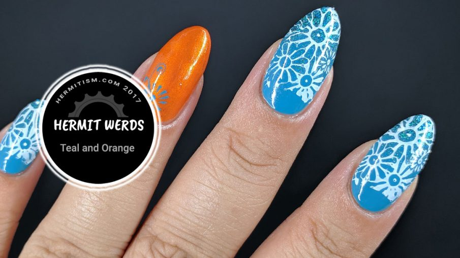 Teal and Orange - Hermit Werds - teal and orange half moon floral stamping
