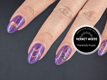 Thankfully Purple - Hermit Werds - creepy critters stamped on a holographic purple cat's eye magnetic background