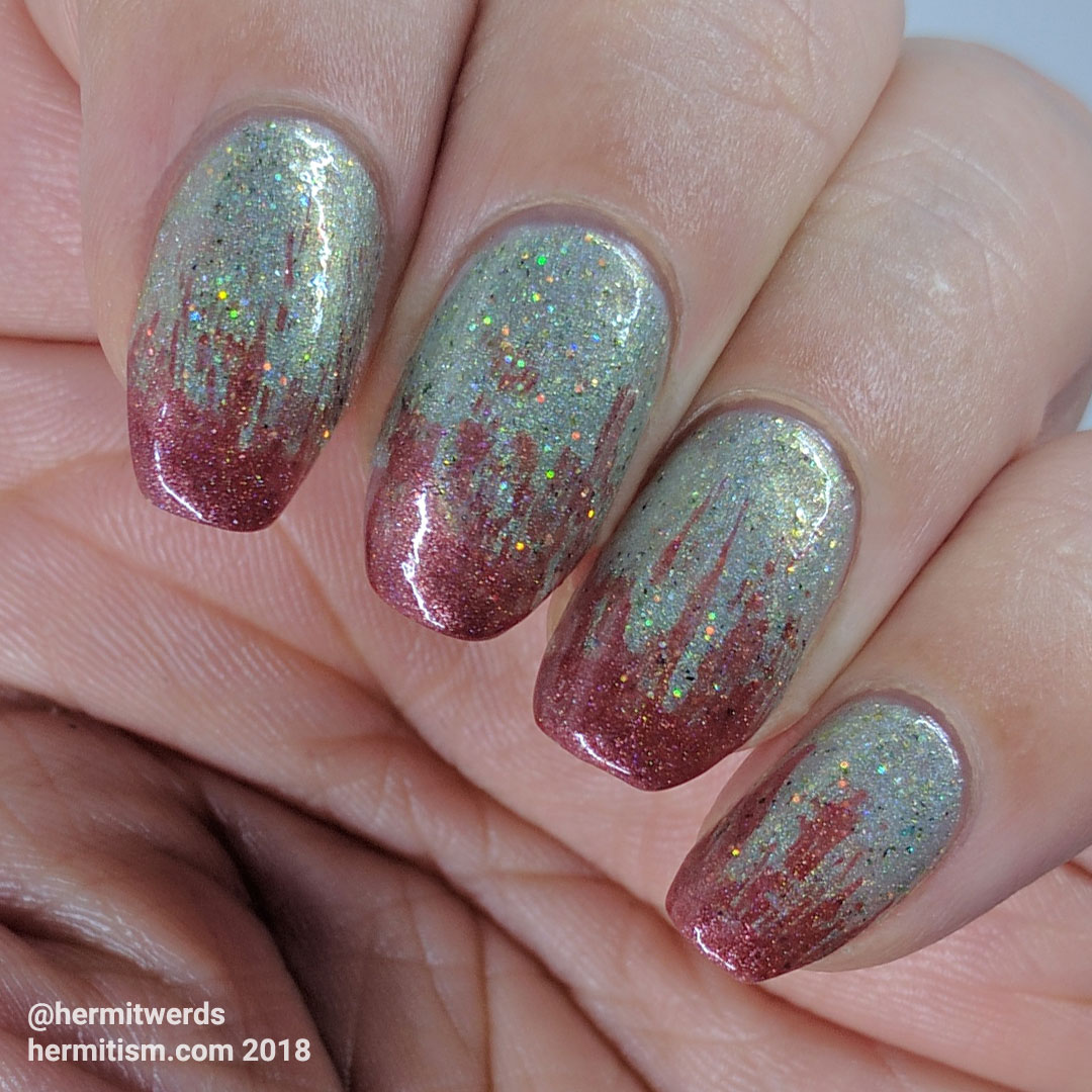 "Native War Paints' ""Zombie Unicorns Love Brains"" with KBShimmers' ""Men are from Marsala"" on top"