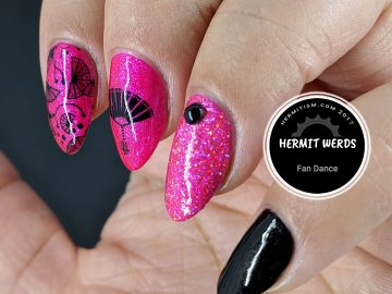 Fan Dance - Hermit Werds - pink and black mani with delicate fans and holographic glitter accent nail