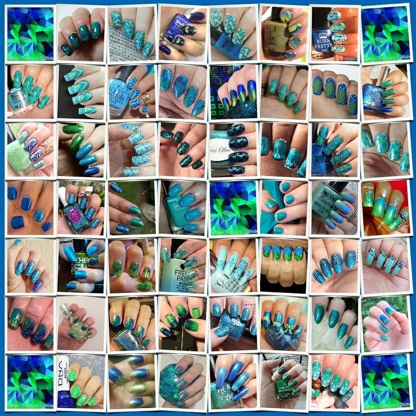 #WhenColoursCollide collage - Blue and Green (only)
