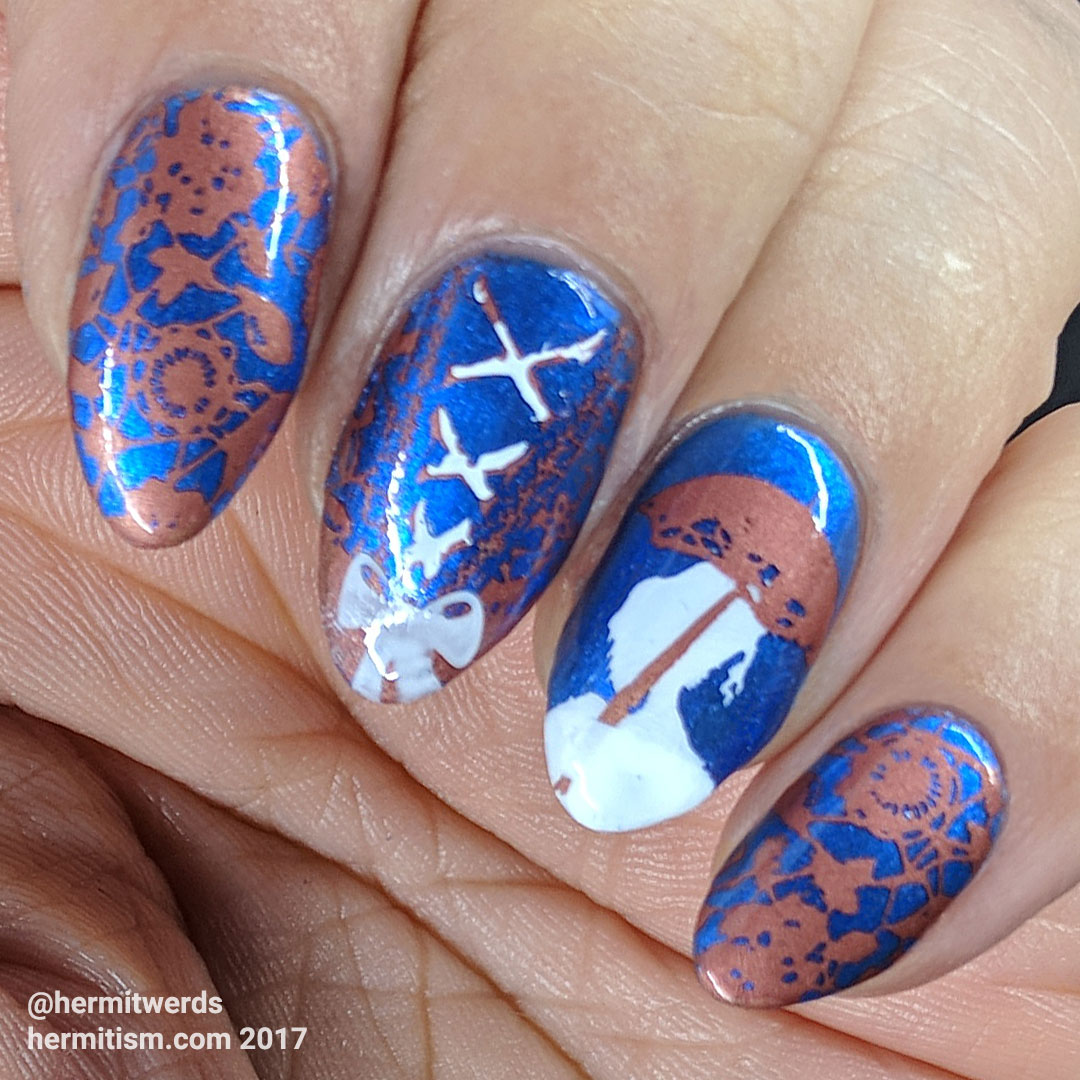 The Victorian Age - Hermit Werds - blue and copper Victorian-style nail art with corset and lady with a parasol