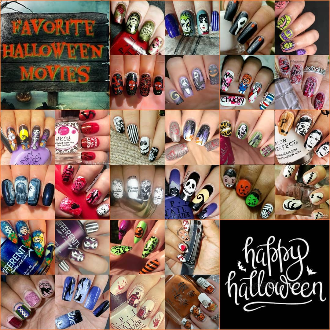 Favorite Halloween Movie collage #NailsWithIgFriends