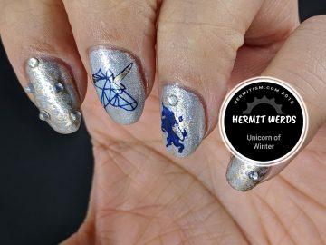 Unicorn of Winter - Hermit Werds - silvery ice unicorn design with golden snowflakes