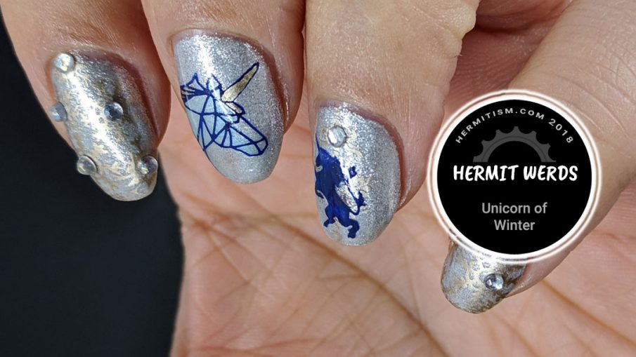 Unicorn of Winter - Hermit Werds - silvery ice unicorn design with golden snowflakes