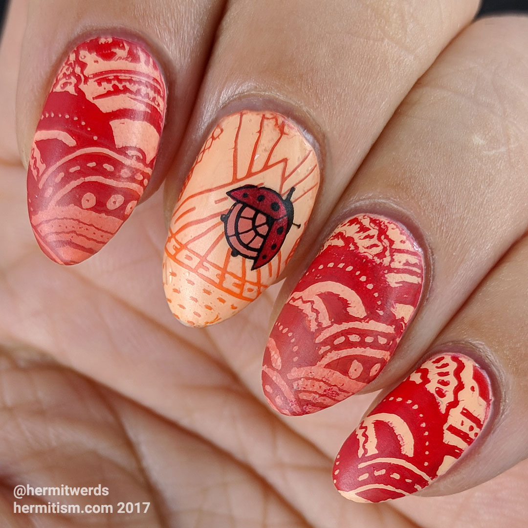 War of the Ladybugs - Hermit Werds - red ladybug stamping on a light orange background