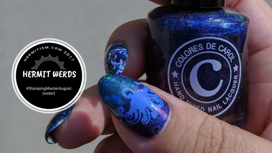 Waves in Motion - Hermit Werds - iridescent waves on a blue holo background