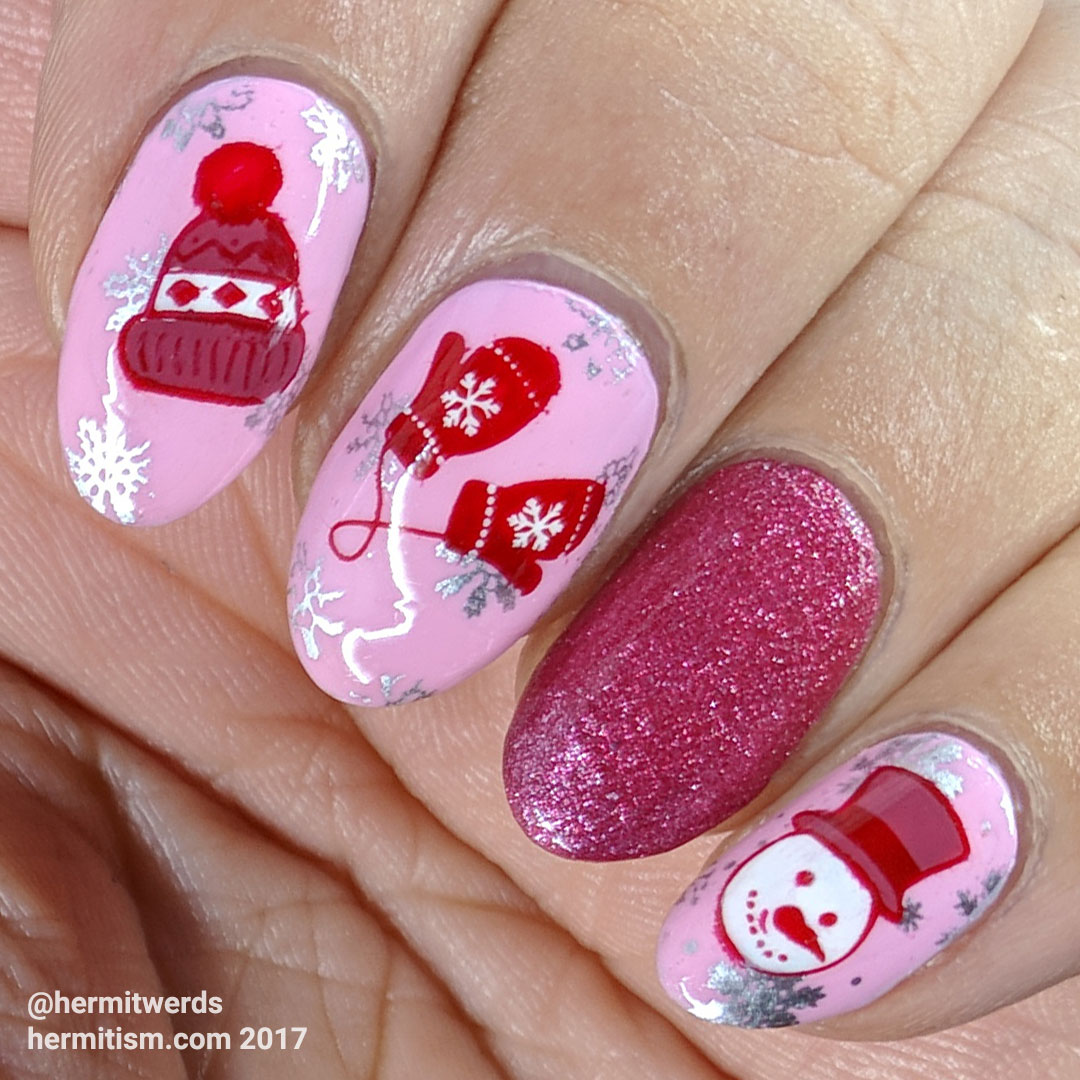 Winter WonderNail - Hermit Werds - pink and red winter fun nail art with hat, mittens, and snowman head