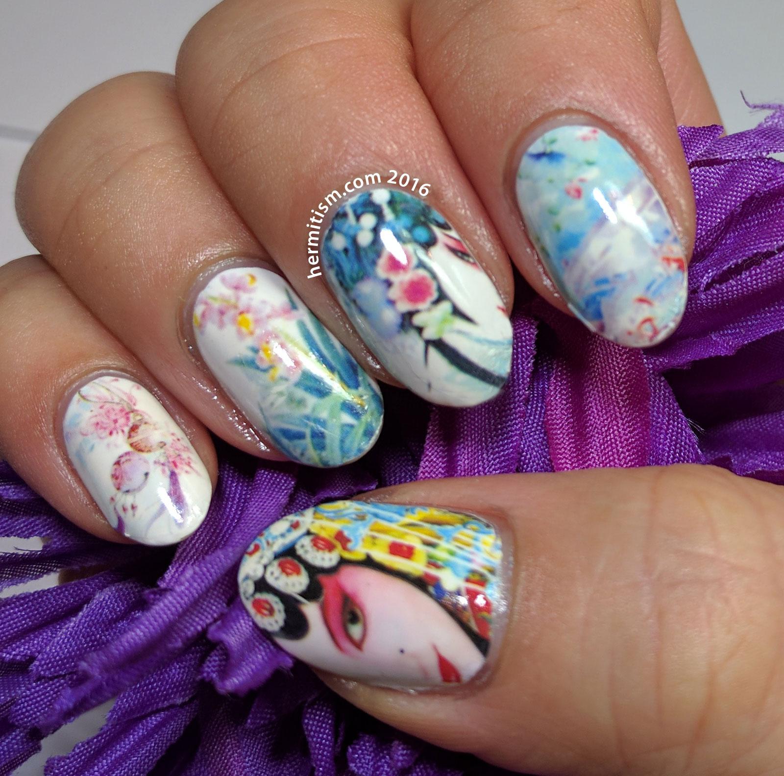 Chinese Opera - 31 Day Nail Art Challenge (art) - Hermit Werds