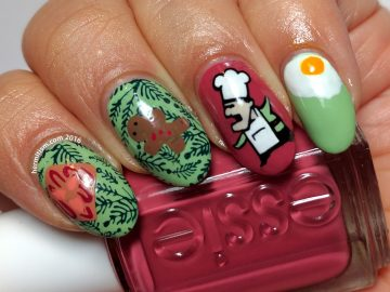B is for Breakfast - ABC Nail Art Challenge - 26 Great Nail Art Ideas (winter warmth) - Hermit Werd