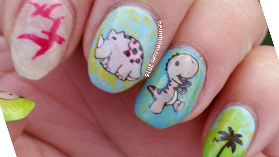D is for Dinosaur - ABC Nail Art Challenge - Hermit Werds
