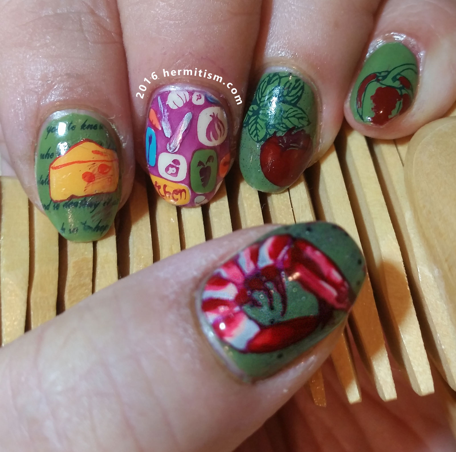 F is for Food - ABC Nail Art Challenge - Hermit Werds