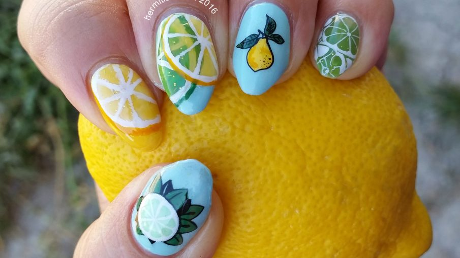 L is for Lemons and Limes - ABC Nail Art Challenge - Hermit Werds