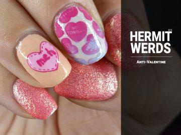 Anti-Valentine - Hermit Werds - anti-valentine candy hearts on an orange background