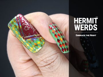 Embrace the Night - Hermit Werds - harlequin pattern made with rhombus sequins and a strange golden dancer wearing a mask