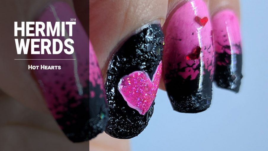 Hot Hearts - Hermit Werds - a pink gradient and black texture polish design with heart sequins and holo