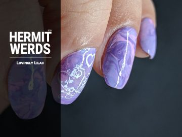 Lovingly Lilac - Hermit Werds - a pink and lilac smoosh marble with a white heart design stamped on top