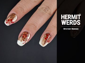 Mystery Berries - Hermit Werds - brown veil technique over white gel polish with red berries stamped on top