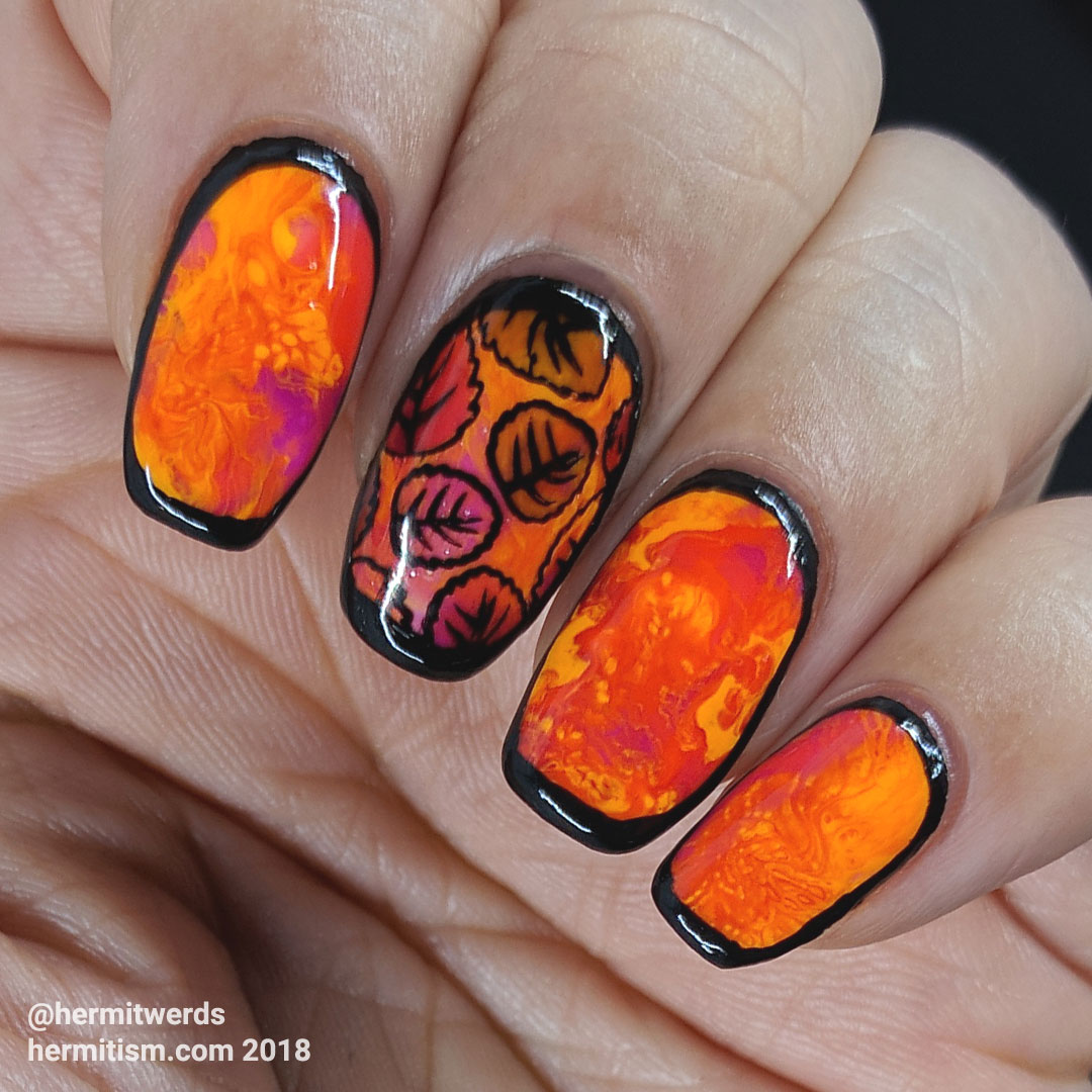 Neon Leaves - Hermit Werds - neon smoosh nails outlined in black with an accent nail stamped with leaves