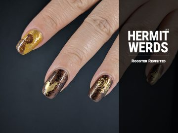 Rooster Revisited - Hermit Werds - Year of the Rooster nail art done in golds, browns, and yellows