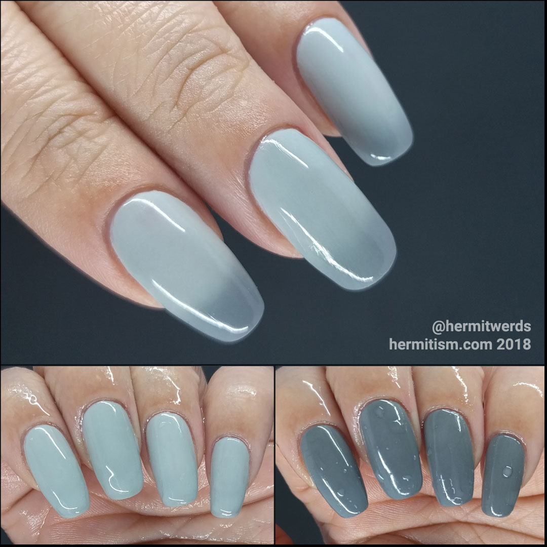 Swatch of Born Pretty Thermal 040 - Hermit Werds - light grey to darker grey thermal polish swatched on natural nails
