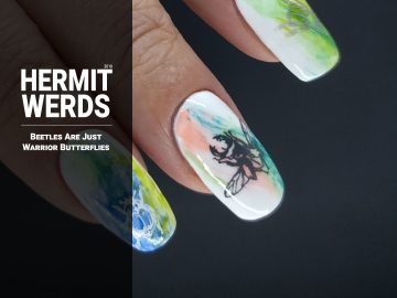 Beetles Are Just Warrior Butterflies - Hermit Werds - neon dry brush nail art with beetles and leaves stamped on top
