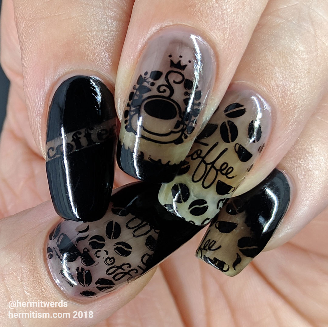 Black Coffee - Hermit Werds - coffee themed black jelly nails covered with black stamping and masked off areas filled with black