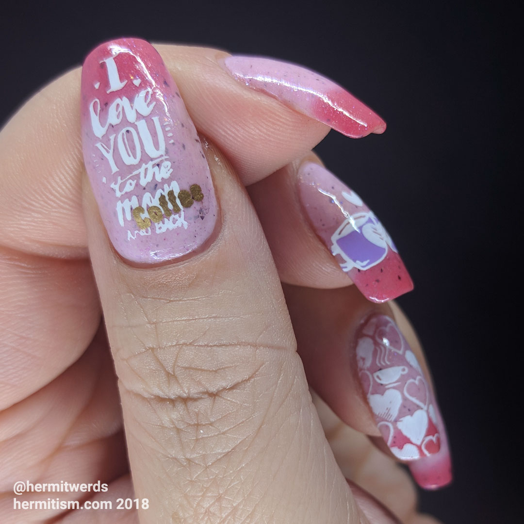 Coffee Is Love - Hermit Werds - funny pink-themed nail art focused on loving coffee