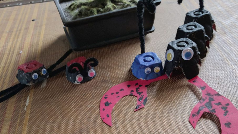 Egg Carton Critters - Hermit Werds - a spider, lady bug and some scorpions made from egg cartons
