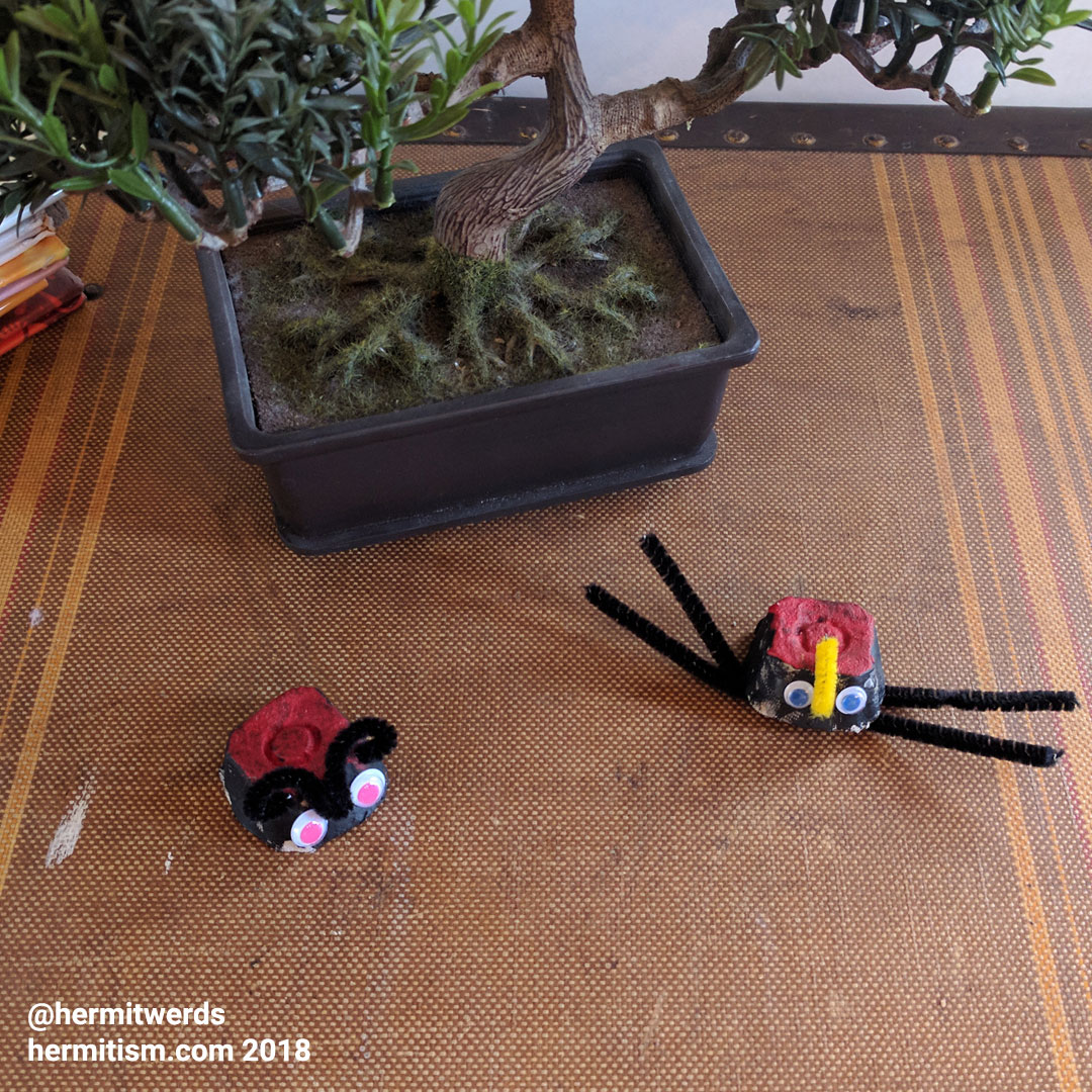 Egg Carton Critters - Hermit Werds - a spider and lady bug made from egg cartons