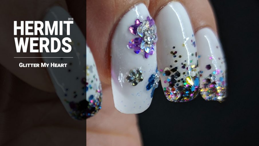 Glitter My Heart - Hermit Werds - baby boomer french tips with glitter and glitter heart placement