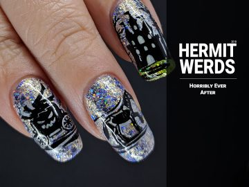 Horribly Ever After - Hermit Werds - double stamping of nightmare carriage, castle, and giant wolf and girl on a glittery background